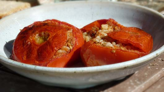 Baked Tomatoes Filled with Rice