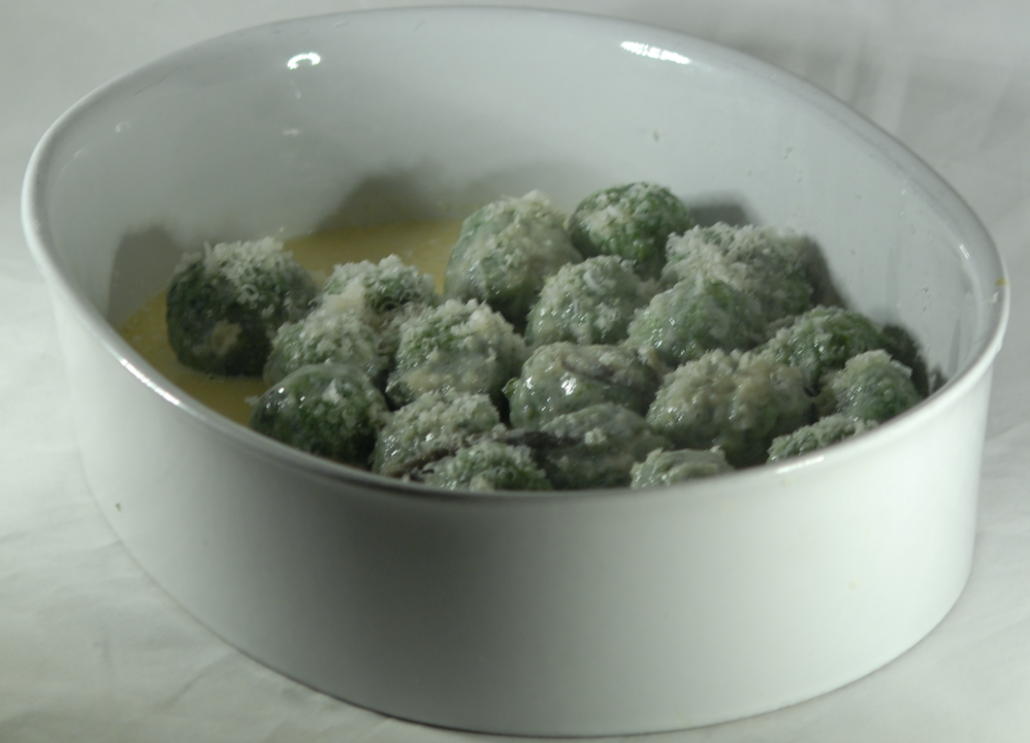 "Gnudi - ""naked"" ricotta and spinach dumplings"