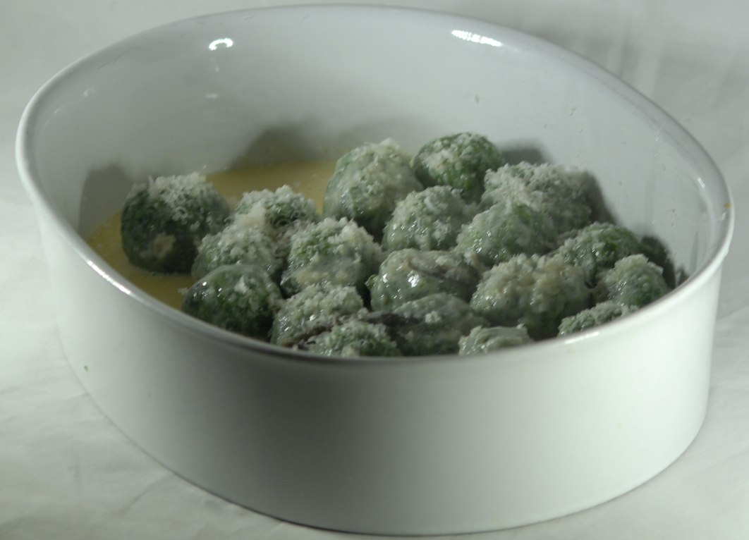 """Gnudi - """"naked"""" ricotta and spinach dumplings"""
